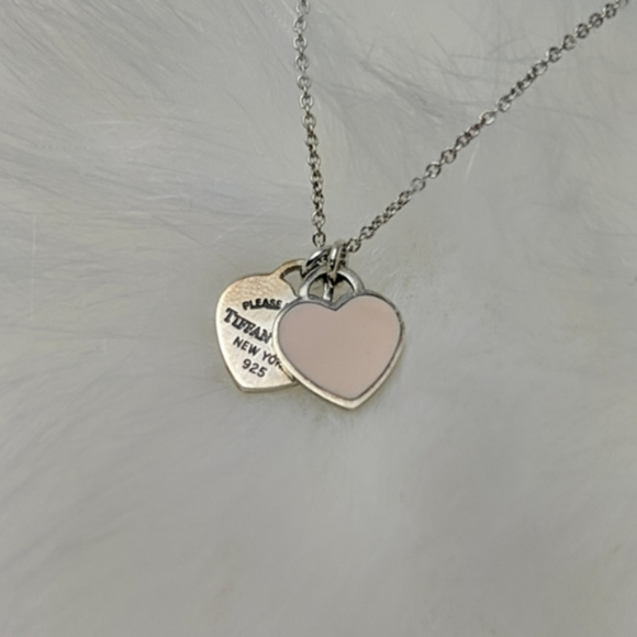 Chain Included 925 Sterling Silver Double Heart Tag Pendant Necklace